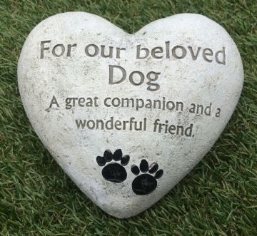 Large 14cm FOR OUR BELOVED DOG HEART Grave Stone  956033